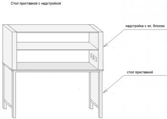 Стол приставной с надстройкой